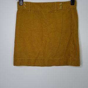 Ann Taylor Loft Corduroy Gold Mini Skirt, Sz 0